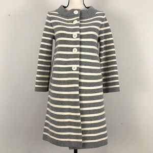 J. Crew Wool Cashmere Stripe Sweater Coat